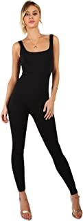 Floerns Women's Summer Bodycon Tank Yoga Jumpsuit Rompers