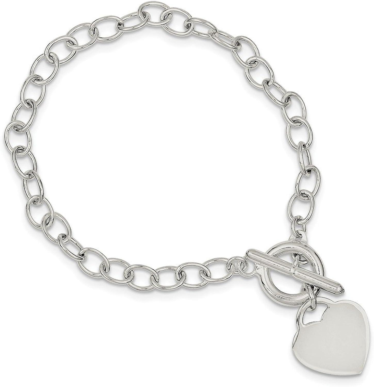 Beautiful Sterling silver 925 sterling Sterling Silver Oval Link Heart Bracelet