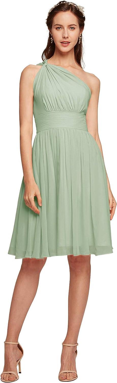 ALICEPUB One Shoulder Chiffon Bridesmaid Dress Short Formal Dresses for Women Party Homecoming