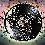 fdgdfgd De diseño de Reloj de decoración de Conejo Lindo Reloj Animal decoración de Disco de Vinilo 3D   Regalo Hecho a Mano conmemorativo de cumpleaños
