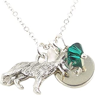 LaFenne Personalized German Shepherd Dog Initial Necklace with Crystal from Swarovski Custom Letter Disc