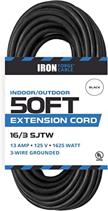 50 Ft Black Extension Cord - 16/3 Durable Electrical Cable