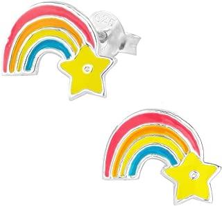 Hypoallergenic Sterling Silver Little Rainbow with Star Stud Earrings for Kids (Nickel Free)