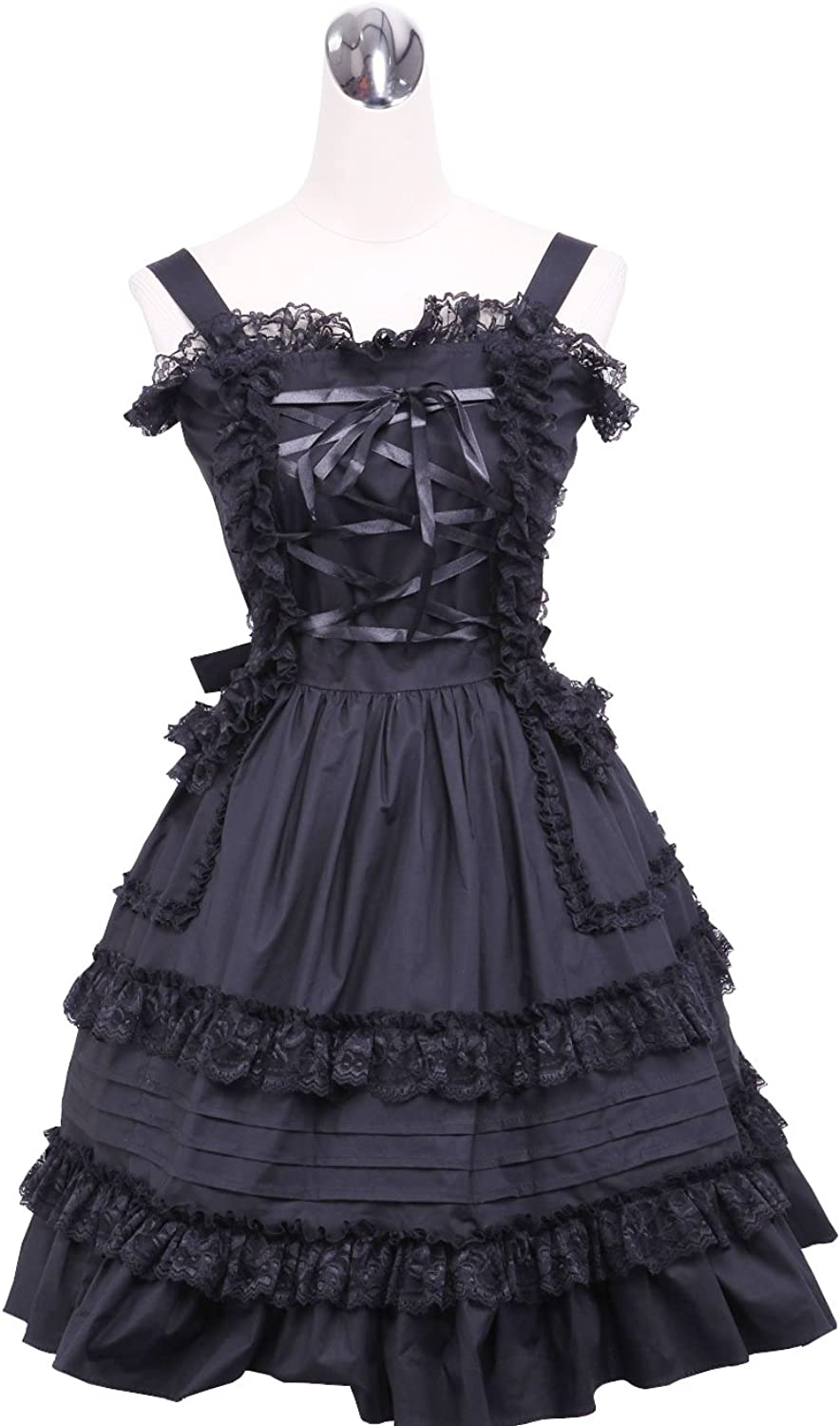 Antaina Black Cotton Halter Lace Ruffle Classic Gohtic Punk Lolita Cosplay Dress