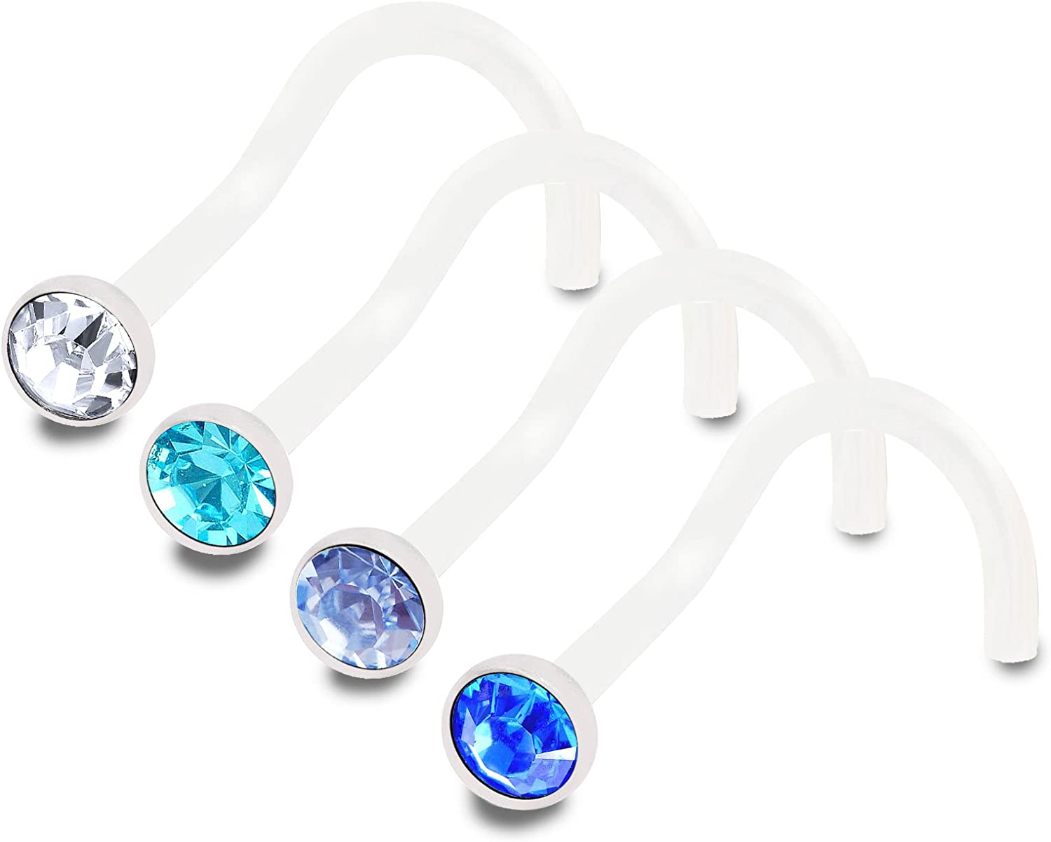 bodyjewellery 4pcs 18g 1.0mm Nose Rings Screw Flexible Acrylic Nostril Rings Piercing Jewelry 2.5mm Crystal BPAA Pick Color
