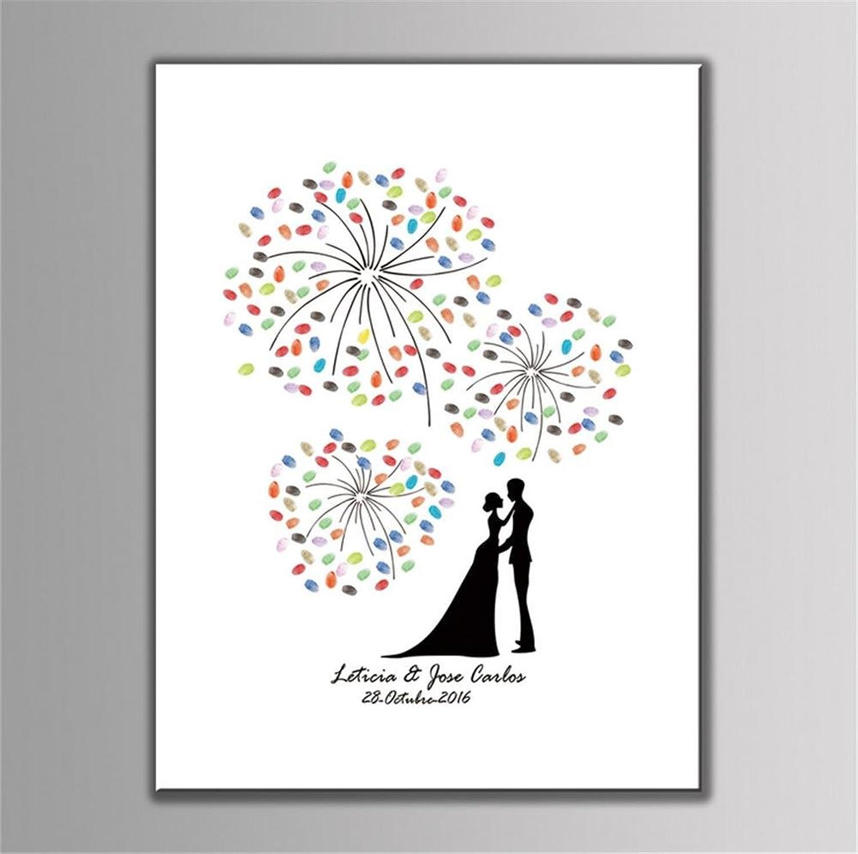 M&DZ Creative Wedding Fingerprint Tree Sign Painting Signature Alternative Guest Book Thumbprint Tree PosterGuest Book Signature Thumbprint Gorgeous fireworks, With 1pcs Ink Pad (11.8''x15.7 '') , 40x60cm