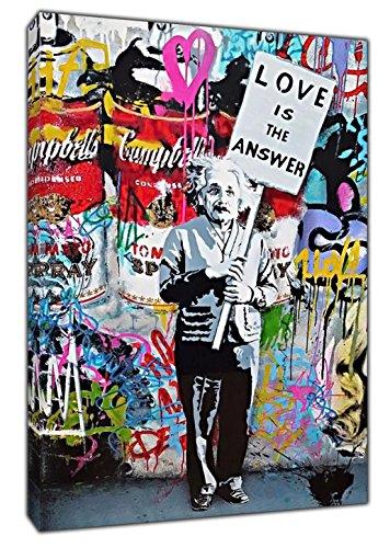 """Banksy """"Einstein, Love is The Answer"""", bedruckte und auf Rahmen gespannte Leinwand, Wandkunst, Heimdeko, Stoff-Leinwand, 40'' x 30'' inch( 102x 76 cm )-18mm depth"""