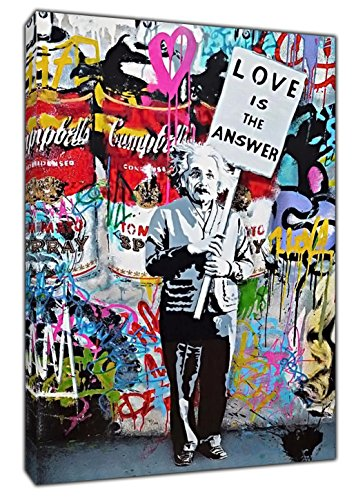 Lienzo enmarcado estilo Banksy para decoración del hogar con Einstein con el cartel Love is The Answer, Lienzo de tela., 30'' x 20'' inch ( 76x 50 cm ) -18mm depth