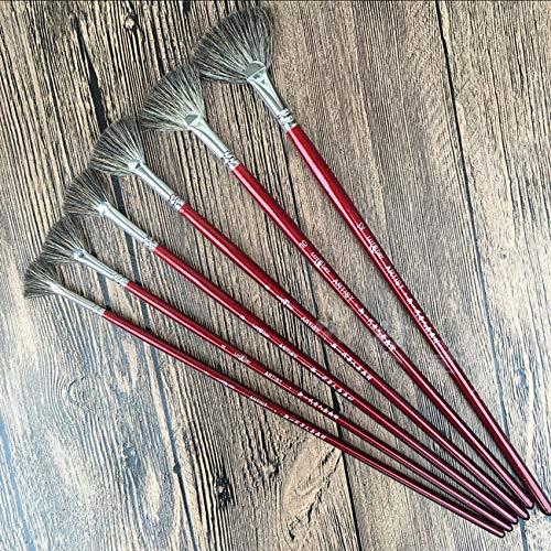 visone di alta qualità 6 pezzi/set forma di ventaglio di coda di pesce Acquarello tempera acrilico Pennelli per pittura ad olio professionale per penna artista pittura