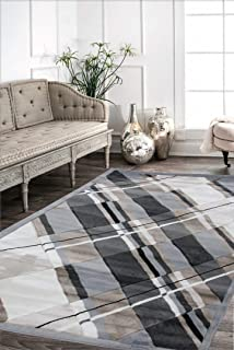 Viventez Maria Collection Modern Abstract GoldenSand Black White Gray Area Rug Carpet 7'9''x9'6''