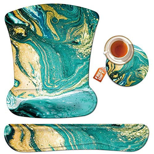 Wrist Rest for Computer Keyboard and Mouse Pad with Wrist Support Gel Teal Marble Ergonomic Mousepad Memory Foam Comfortable Keyboard Pad Set Non-Slip Base Come with A Cute Coaster