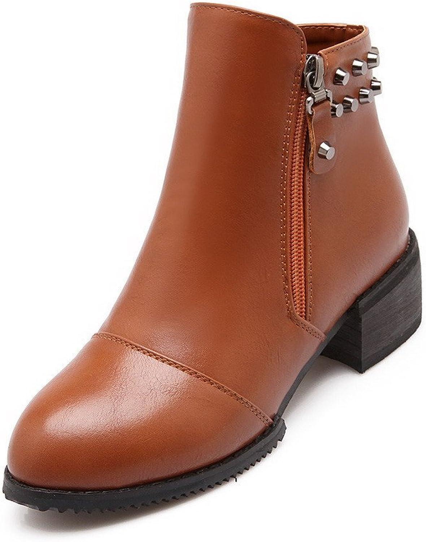 WeenFashion Women's Round Closed Toe Kitten Heels Zipper Solid Boots