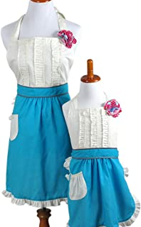 Bumblebee Linens Mommy Daughter Matching Teal Ruffle Hostess Kitchen Cloth Apron Set with Pockets - Woman Mother Toddler Girl