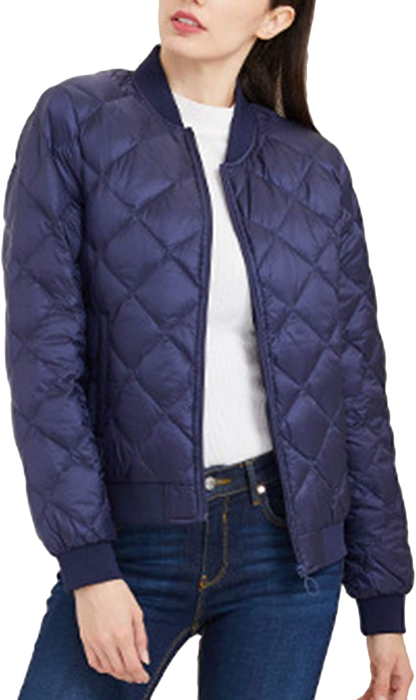 HaoMay Women's Winter Warm Full-Zip Quilted Puffer Down Baseball Jackets