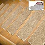 Lonnie Life Anti-Skid Carpet Stair Treads,No Glue But Self Adhesive,Be Used Repeatedly,Soft and Wear-Resisting,Set of 13 Non-Slip Stair Treads Rugs Mats Bubber Backing(8 inch x 30 inch),Beige