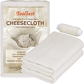 Toolbest TB-G60 100% Unbleached Cheesecloth Fabric Cooking Twine, Washable & Reusable Cotton Strainer, Filter (Grade 60)