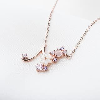 K.L.Y 925純銀製 レディース ネックレス CZキュービックジルコニア 桜 字母 高品質レディース ペンダント ネックレス 素敵 可愛い ピンクゴールド(A)