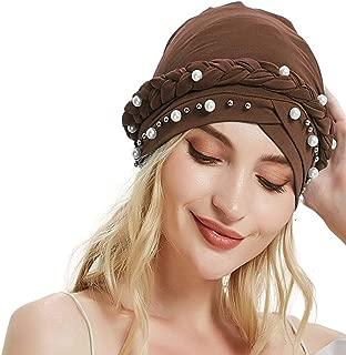 AuroTrends Beaded Turban, Turban Hat Headwrap with Pearls, Wedding Hat, Occasion Turban,Bridal Turban,Hijab Head Wrap