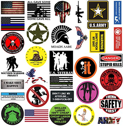 TreeArm Hard Hat Stickers Set of 32 Funny Water Proof Helmet Sticker And Decals With American Flag For Hard Hats Construction Helmet And Tool Box 2.5-3.5 Inch Size