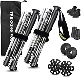 Liteland Trekking Poles-Collapsible Hiking/Walking Sticks-Lightweight,Adjustable,Folding Ski Poles for Backpacking,Camping or Snowshoeing,Aluminum 7075-Quick Lock,2PK