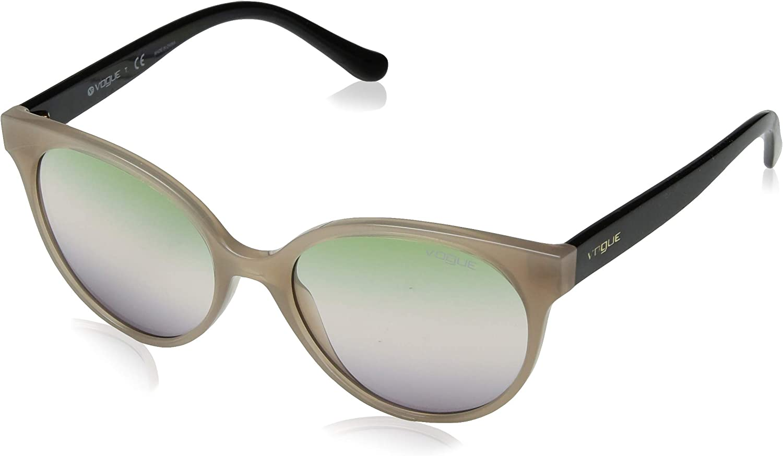 VOGUE Women's 0vo5246s Round Sunglasses, Opal Turtledove serigrapny, 53.0 mm