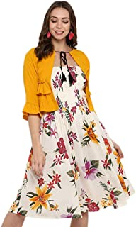 DEEBACO Women's Cotton A-Line Fit and Flare Midi Dress with Jacket