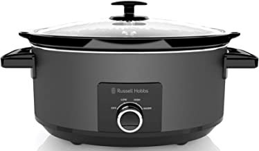 Russell Hobbs RHSC7, 7L Slow Cooker, Built-in Lid Holder, Tempered Glass Lid, Removable Ceramic Bowl, Matte Black