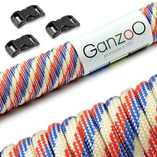Ganzoo Paracord 550 touw 30m + 3X kliksluiting, armband, linnen, halsband, starterset