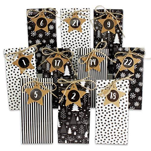 Papierdrachen Adventskalender zum Befüllen - 24 Bedruckte Geschenktüten und 24 Zahlenaufkleber auf Stern-Etiketten - Motiv Schwarz Weiß - zum Basteln und Verschenken - Weihnachten 2020