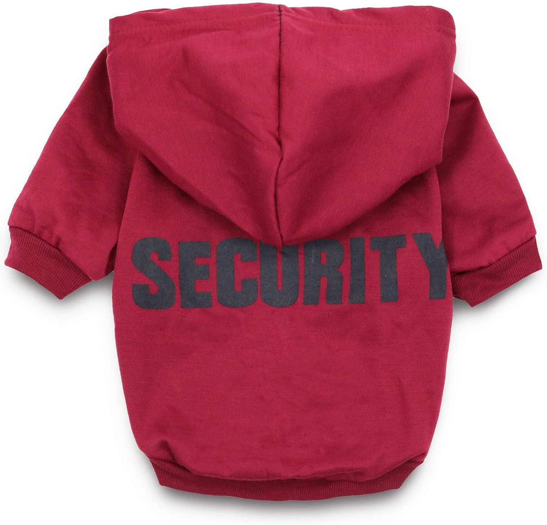DroolingDog Dog Shirts Medium Security Pattern Pet Clothes Fleece Puppy Sweatshirt for Small Dogs, XL, Maroon