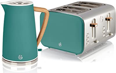 Swan Nordic Green Kitchen Set with 1.7 Litre Kettle and 4 Slice Toaster, Wood Effect and Soft Tough Matte Finish, Stainless Steel, STP2091GREN