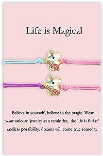 MANVEN بازگشت به مدرسه هدایای Unicorn BFF دستبند برای 2 دختر که با دستبند دوستی مطابقت دارند جدایی از هم اکنون