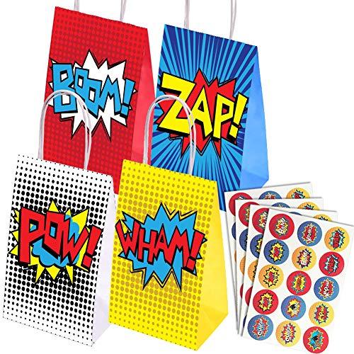 Paquete de 16 Bolsas de Fiesta de superhéroes y 60 Piezas de Pegatinas de Fiesta de superhéroes para Fiesta de superhéroes, Tema Cumpleaños Favores