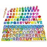 YGZN Juguetes de Madera 1 2 3 años Niños, Juegos de Madera Montessori Tablero de Conteo de Números de Apilamiento de Clasificación Matemática , Regalo de cumpleaños, Navidad (Set 5-en-1)