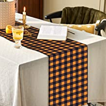 SallyFashion 14 X 72 inches Pumpkin Color Buffalo Plaid Table Runner Cotton Burlap Table Runner for Halloween Holiday Birt...
