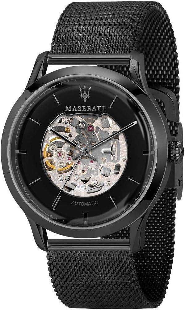 Maserati orologio automatico  da uomo, collezione ricordo, in acciaio, pvd nero 8033288857754
