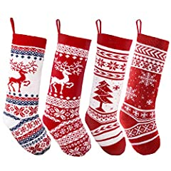 """Premium pack of 4 Large knit Christmas stockings knitted with patterns reindeer, Christmas tree, and snow flakes Big! Christmas stockings are 18""""; fill as many fill as many candies and gifts as you want, they will not limit your gifts' size; your kid..."""