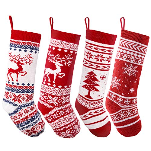 "JOYIN 4 Pack 18"" Knit Christmas Stockings, Reindeer/Christmas Tree/Snow Flakes Knitted Stocking Decorations for Holiday Tree Decor"