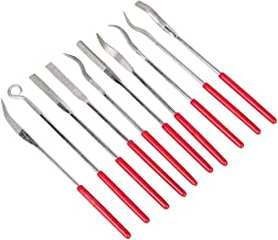 Chris.W 10Pcs Assorted Diamond Mini Riffler Needle File Set Metal Red Jewelers Glass Wood Carving Craft Handy Files Alloy ...