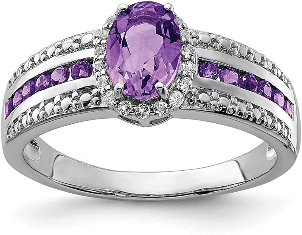 925 Sterling Silver Max 89% OFF Purple Amethyst Cheap bargain Topaz Gemsto White Band Ring