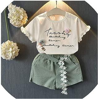 Sunshine-Family Ropa para niños sin Mangas, diseño de Letras y Flores, 2 Piezas, Conjuntos de Ropa de Verano de algodón para niñas