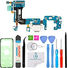 OmniRepairs Charging USB Dock Port Flex Cable Replacement with Microphone and Coaxial Antenna Compatible for Samsung Galaxy S8 Model (G950U) with Adhesive and Repair Toolkit