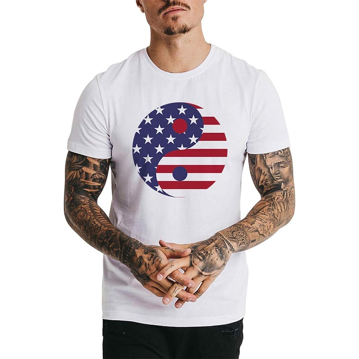 Men's USA American Tee Respctful?Men Patriotic Printed Short Sleeve Casual Cotton Tees Shirt for July 4