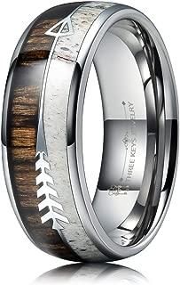 THREE KEYS JEWELRY 6mm 8mm Koa Wood Zebra Wood Arrows Inlay Tungsten Wedding Ring Vikings Hunting Band