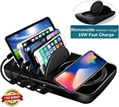 Wireless Charging Station Dock,Multiple Devices Charging Organizer with 10W Fast Qi Cordless Charge Pad, Multi Desktop Doc...