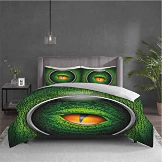 Dolores Edmund Eye Extra Large Quilt Cover Vibrant Realistic Eye of Reptile Animal Natural Wildlife Scales Crocodile Look Can be Used as a Quilt Cover-Lightweight (Twin) Green Orange Grey