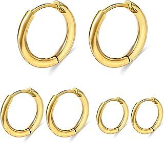 گوشواره های کوچک Micuco Huggie Hoop برای زنان گوشواره های کوچک غضروفی مردانه 6mm/8mm/10mm 14K Gold Helix Daith Tragus گوش بغل گوشواره حلقه سفید طلا گوشواره خواب سفید ضد حساسیت