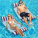 Inflatable Pool Float, 2-Pack Adult Pool Floaties, Multi-Purpose...