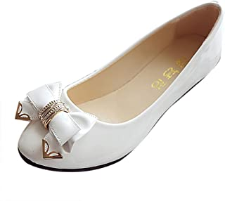 Ballerina for Women,WEUIE Women's Spring Autumn Flat Shoes Party Evening Single Shoes with Bow Ballet