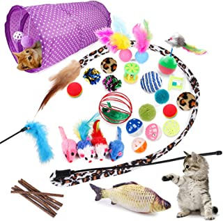 Allmart AC033108 28 Pcs Cat Toys Kitten Toys Assorted, Cat Tunnel Catnip Fish Feather Teaser Wand Fish Fluffy Mouse Mice B...